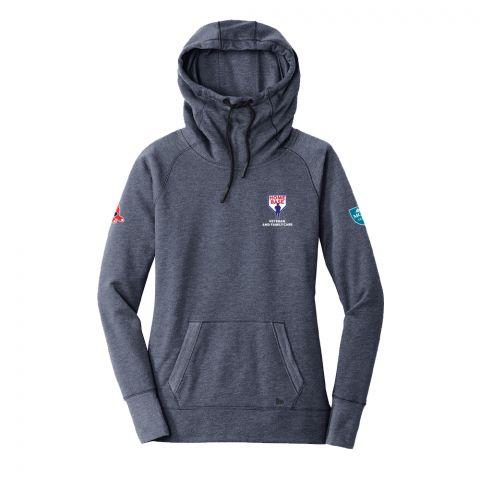 Ladies New Era Navy Embroidered Hooded Sweatshirt